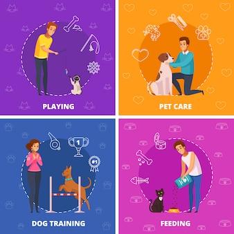Icone quadrate del fumetto della gente con gli animali domestici 2x2