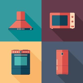 Icone quadrate piane degli elettrodomestici della cucina con le ombre lunghe.