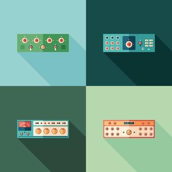 Icone quadrate piatte di compressori audio. imposta 1