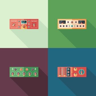 Icone quadrate piatte di compressori audio. imposta 2