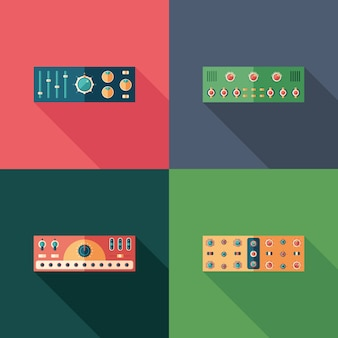 Icone quadrate piatte di compressori audio. imposta 3