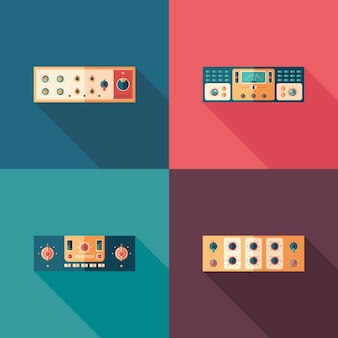 Icone quadrate piatte di compressori audio. imposta 4