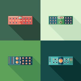 Icone quadrate piatte di compressori audio. imposta 5