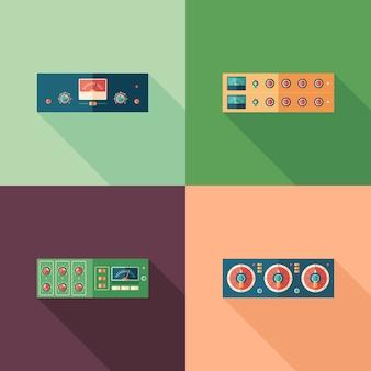Icone quadrate piatte di compressori audio. imposta 6