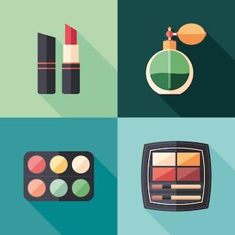 Icone quadrate piatte di salute e bellezza con lunghe ombre.