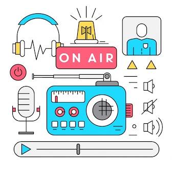 Icone radio lineari