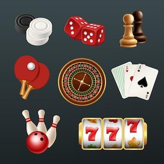 Icone realistiche del gioco, set di simboli del casinò web domino di bowling di dadi da poker