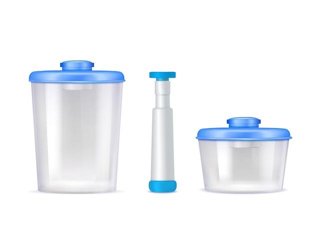 Icone realistiche di contenitori per alimenti sottovuoto in plastica