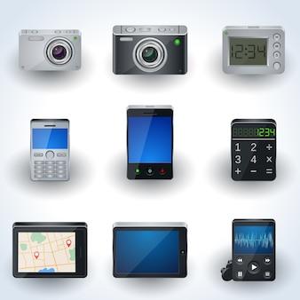 Icone realistiche elettroniche moderne 3d, insieme di elementi dell'interfaccia