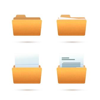 Icone realistiche gialle luminose della cartella con i documenti su bianco