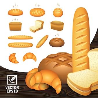 Icone realistiche impostano prodotti da forno da diverse angolazioni (pane, fette di pane, una pagnotta, un bagel)