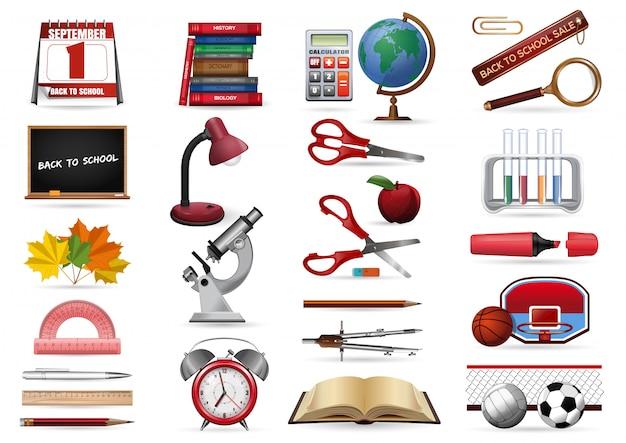 Icone realistiche impostate su un tema scolastico. torna alla collezione di icone di scuola. illustrazione