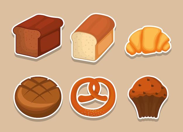 Icone relative ai prodotti da forno