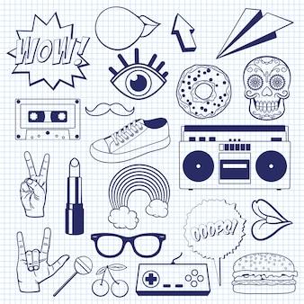 Icone retrò dei cartoni animati su un foglio di quaderno a quadretti. schizzo di segni e simboli vintage.