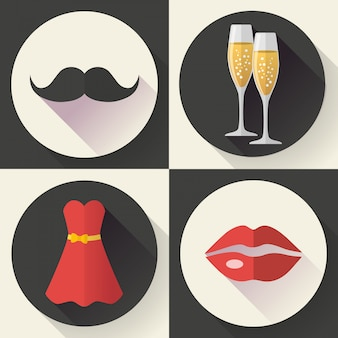 Icone romantiche della data, stile design piatto
