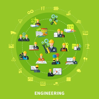 Icone rotonde di ingegneria composizione
