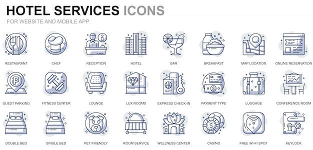 Icone semplici della linea di servizio dell'hotel per siti web e app mobili
