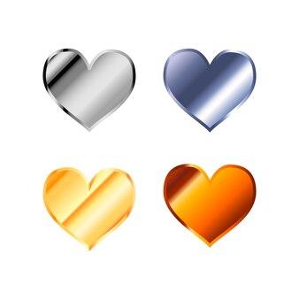 Icone semplici lucide del cuore fatte dai metalli differenti isolati