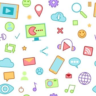 Icone social media con emoticon e dispositivi senza cuciture.