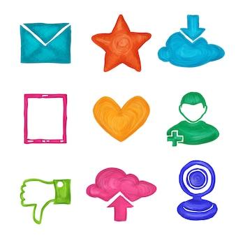 Icone social media dipinte