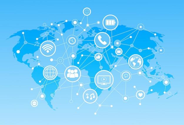 Icone sociali di media sopra il concetto del collegamento di comunicazione della rete del fondo della mappa di mondo