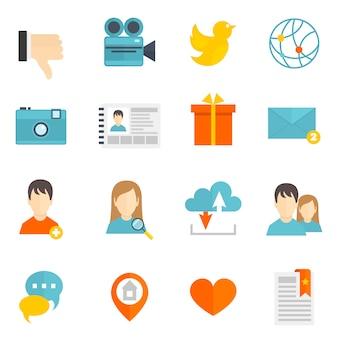 Icone sociali impostate piatte