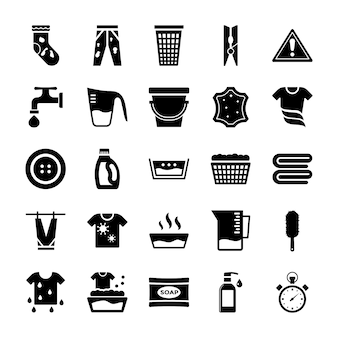 Icone solide di elementi di lavanderia