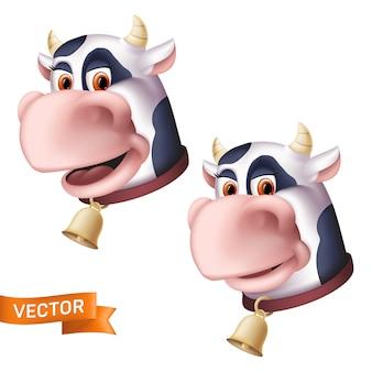 Icone sorridenti della testa del personaggio della mucca del fumetto. illustrazione di un animale domestico cornuto con una campana d'oro isolato su uno sfondo bianco.