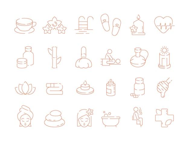 Icone sottili spa. la sauna del solarium di ayurveda di trattamento di terapia di bellezza della donna rilassa le pietre calde e annusa i simboli di vettore