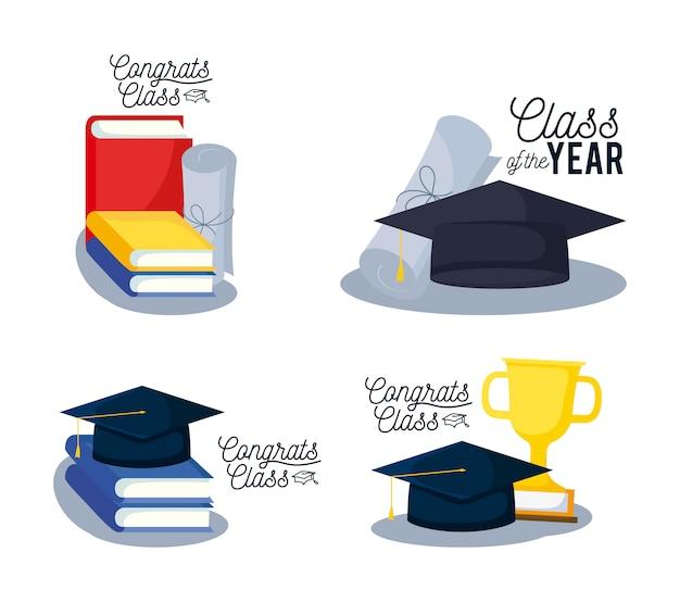 Icone stabilite della carta della classe di graduazione