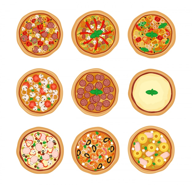 Icone stabilite della pizza isolate su fondo bianco. pizza con ingredienti diversi. illustrazione vettoriale design piatto.