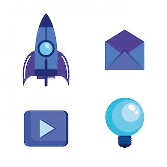 Icone stabilite di vendita di media sociali