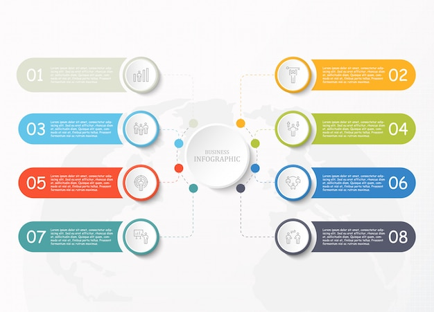 Icone standard dell'uomo del lavoro e di infographic per il concetto di affari.