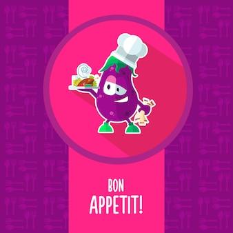 Icone su una cucina a tema con divertente chef melanzana