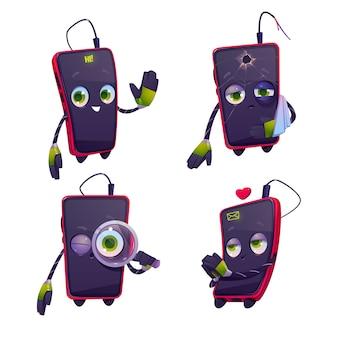 Icone sveglie del carattere del telefono cellulare del fumetto messe
