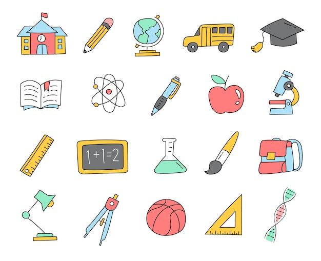 Icone variopinte di doodle di ritorno a scuola
