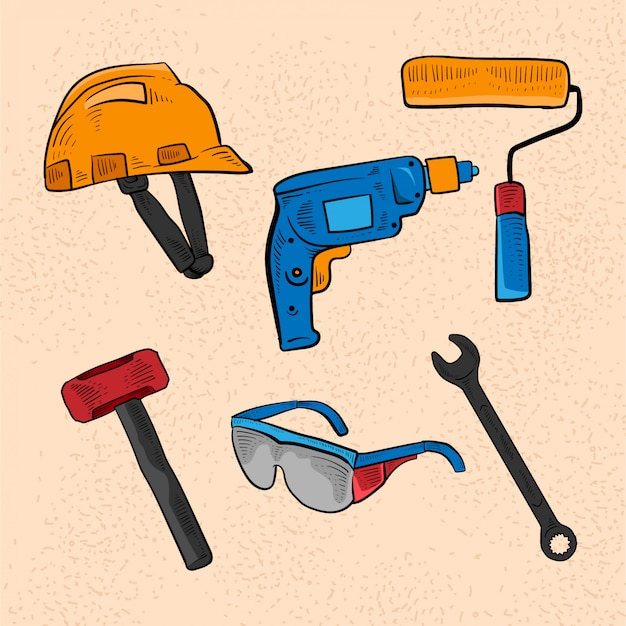 Icone variopinte di schizzo dell'illustrazione degli strumenti del lavoro di riparazione