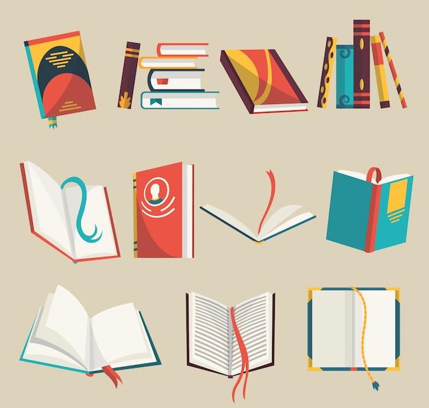 Icone variopinte messe, illustrazione dei libri. impara e studia. collezione con libri aperti e chiusi. istruzione e conoscenza.
