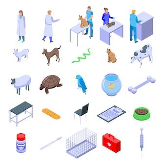Icone veterinarie messe, stile isometrico