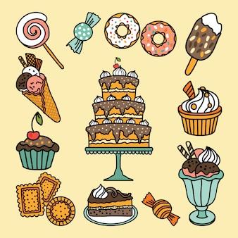Icone vettoriali con caramelle e dolci
