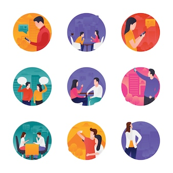 Icone vettoriali di interazione