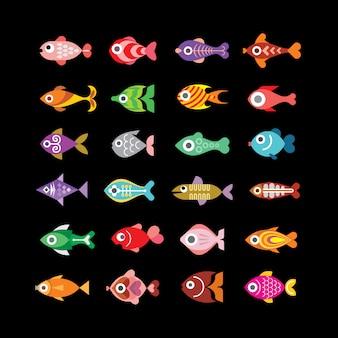 Icone vettoriali di pesce sul nero