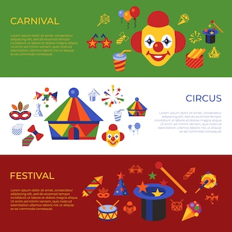 Icone vettoriali semplice carnevale e circo, infografica stile piatto