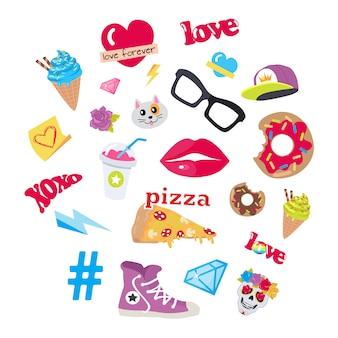 Icone vettoriali set adesivi snack accessori articoli
