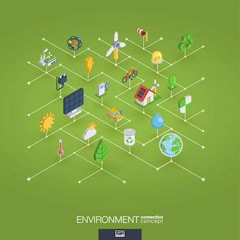 Icone web integrate 3d ambientali. concetto isometrico della rete digitale.