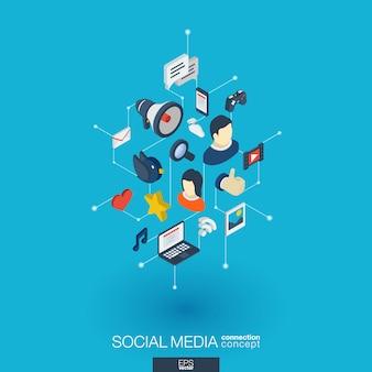 Icone web integrate social media. concetto isometrico della rete digitale. puntini grafici collegati e sistema di linea. sfondo astratto per mercato, condivisione, comunicazione e assistenza. infograph