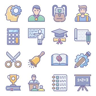 Iconpack piatto di apprendimento
