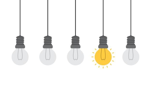 Idea brillante e concetto di intuizione con lampadina.