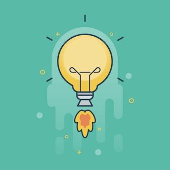 Idea creativa con segno di lampadina di volo