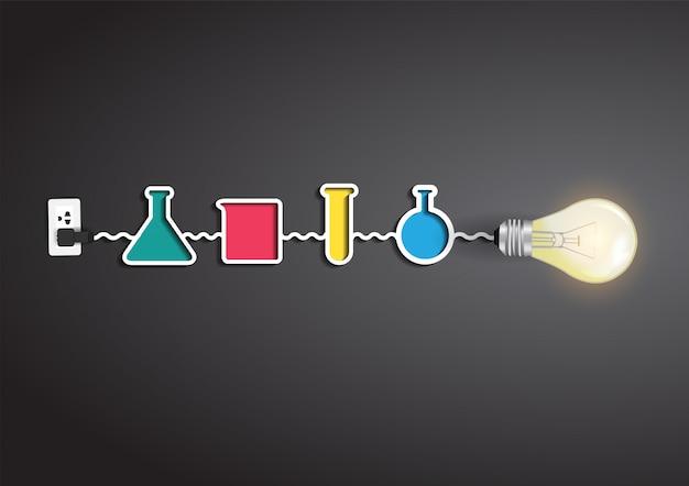 Idea creativa della lampadina di vettore con elementi di chimica e scienza